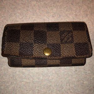 Auth Louis Vuitton Damier Ebene 4 Key Case Holder